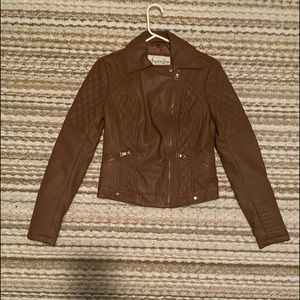 Brown vegan leather jacket